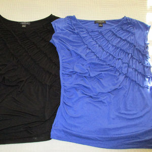 2 Ruched knit cap-sleeve tops by August Silk